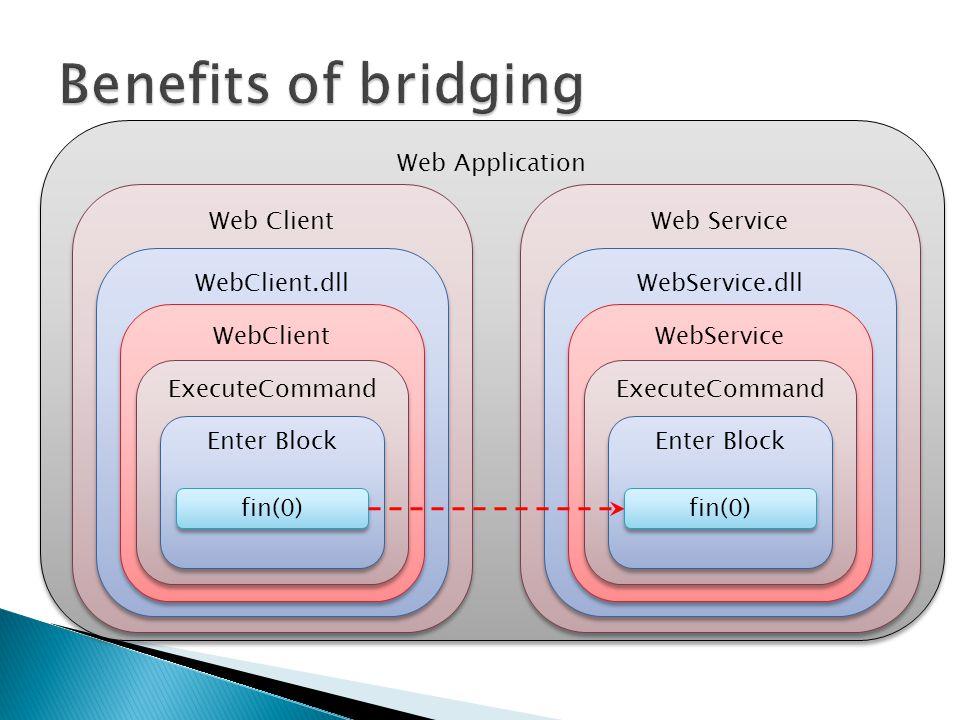 Web Application Web Client WebClient.dll WebClient ExecuteCommand Enter Block fin(0) Web Service WebService.dll WebService ExecuteCommand Enter Block