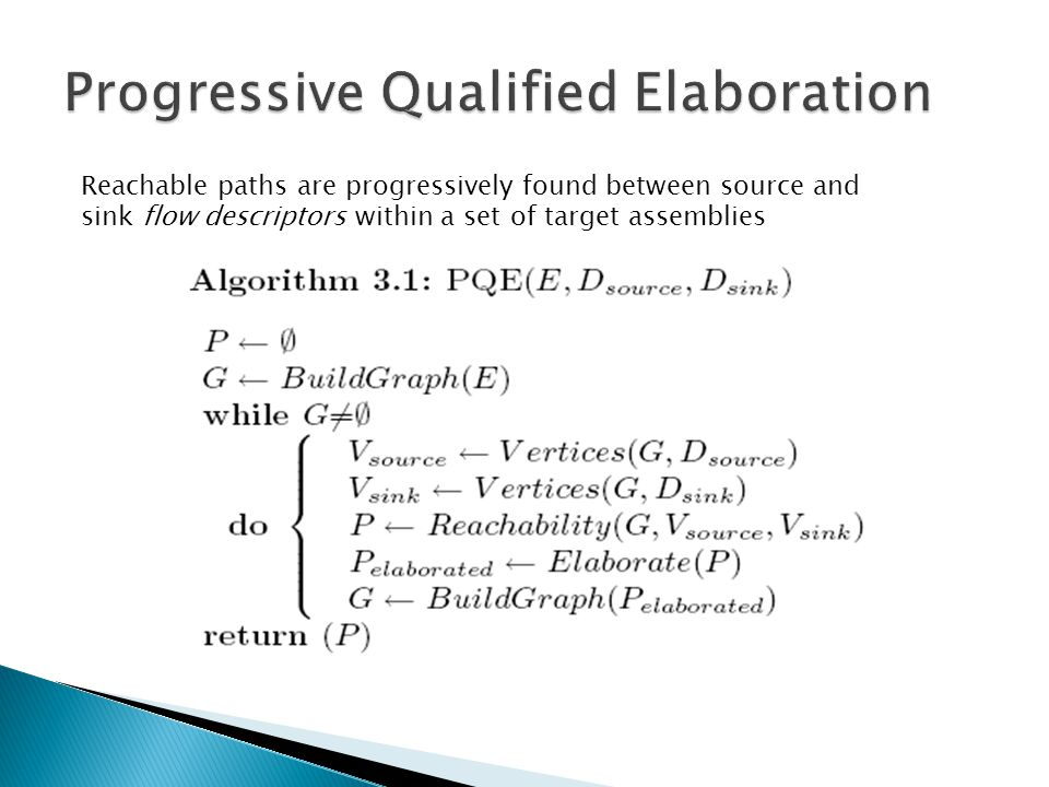 Reachable paths are progressively found between source and sink flow descriptors within a set of target assemblies