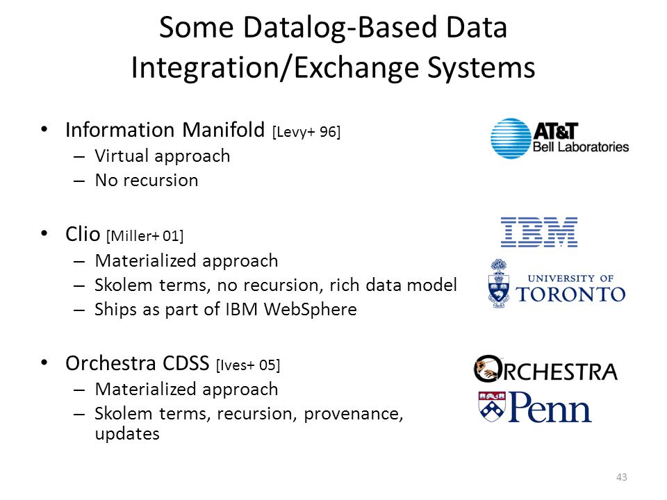 Some Datalog-Based Data Integration/Exchange Systems Information Manifold [Levy+ 96] – Virtual approach – No recursion Clio [Miller+ 01] – Materialized approach – Skolem terms, no recursion, rich data model – Ships as part of IBM WebSphere Orchestra CDSS [Ives+ 05] – Materialized approach – Skolem terms, recursion, provenance, updates 43