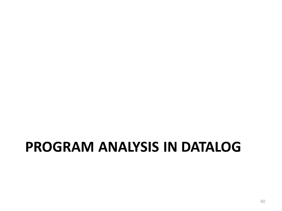 PROGRAM ANALYSIS IN DATALOG 60