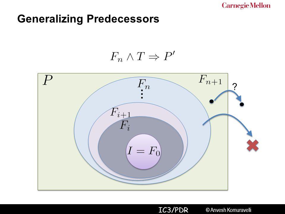 © Anvesh Komuravelli IC3/PDR … ? Generalizing Predecessors