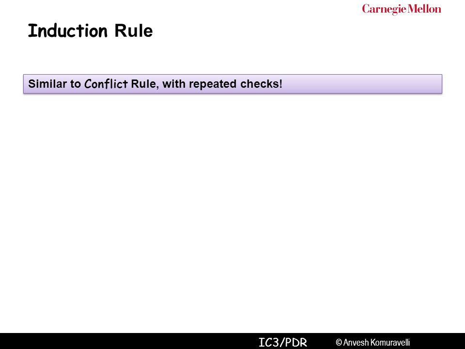 © Anvesh Komuravelli IC3/PDR Induction Rule Similar to Conflict Rule, with repeated checks!