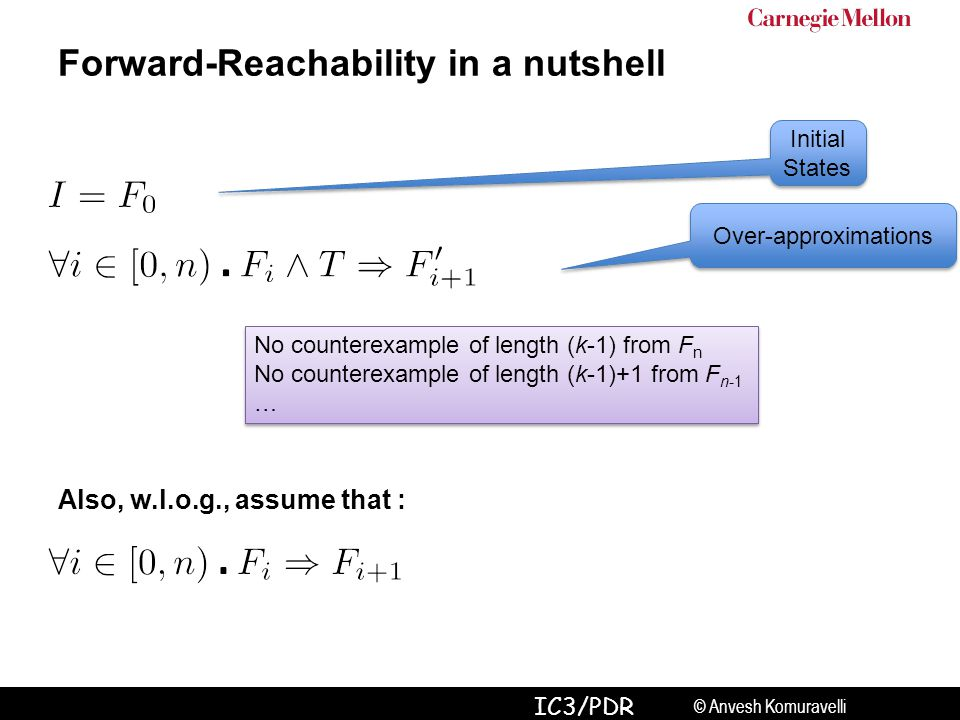 © Anvesh Komuravelli IC3/PDR Forward-Reachability in a nutshell Initial States Over-approximations Also, w.l.o.g., assume that : No counterexample of length (k-1) from F n No counterexample of length (k-1)+1 from F n-1 … No counterexample of length (k-1) from F n No counterexample of length (k-1)+1 from F n-1 …