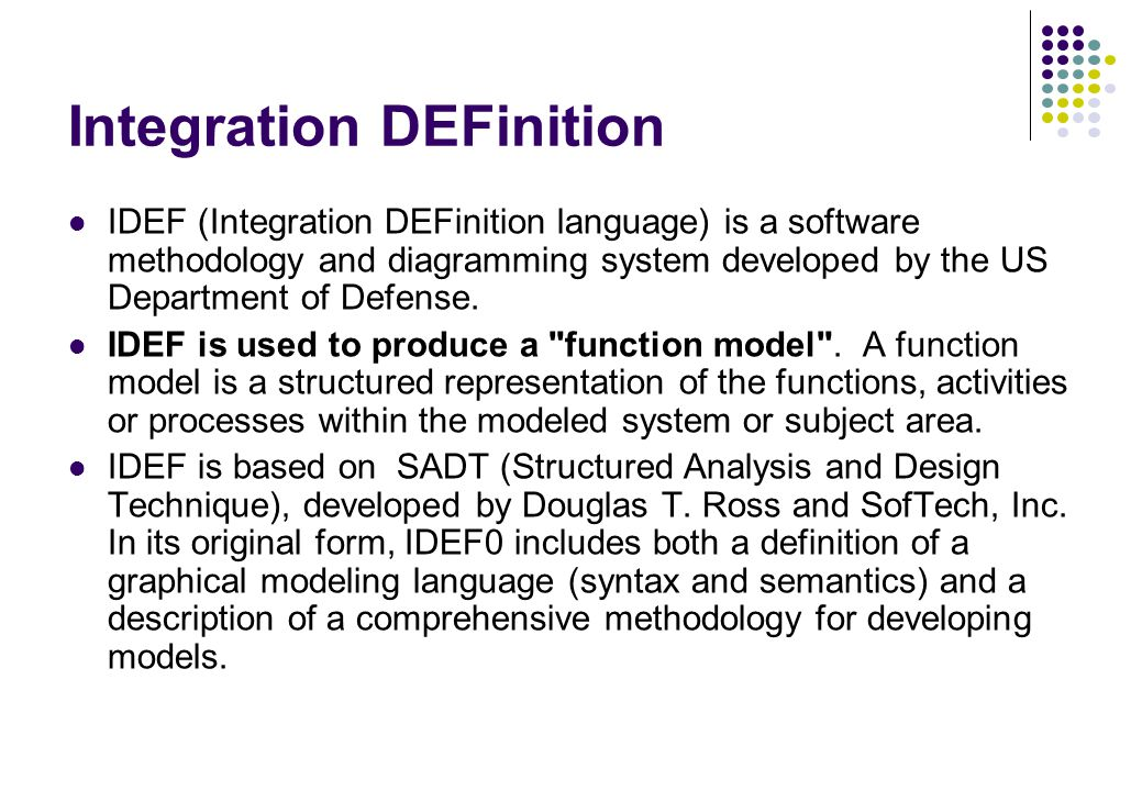 Integration DEFinition IDEF (Integration DEFinition language) is a software methodology and diagramming system developed by the US Department of Defen