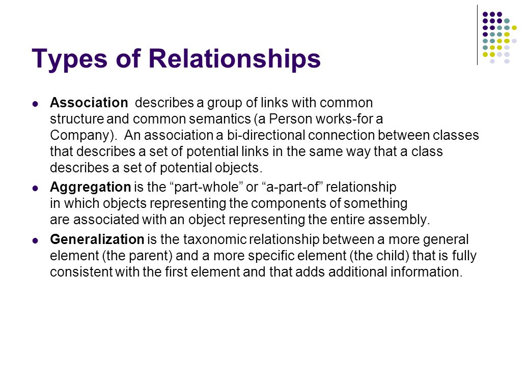 Types of Relationships Association describes a group of links with common structure and common semantics (a Person works-for a Company). An associatio