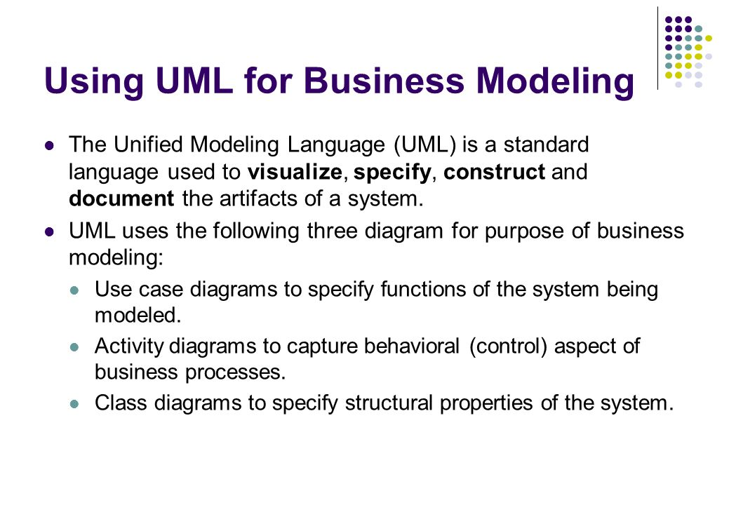 Using UML for Business Modeling The Unified Modeling Language (UML) is a standard language used to visualize, specify, construct and document the arti