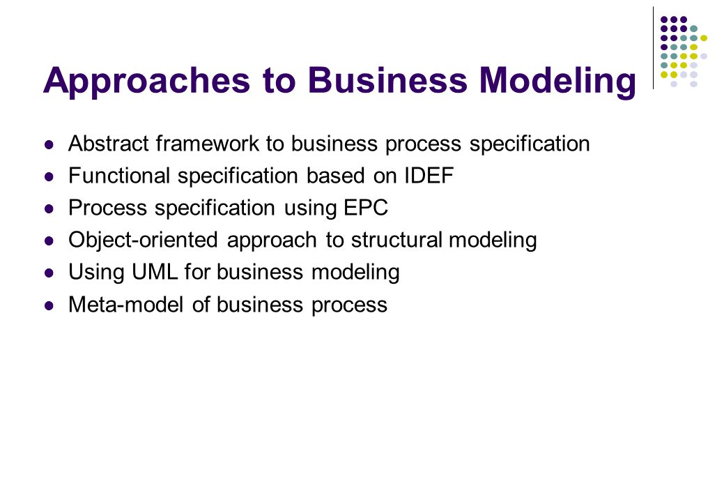 Approaches to Business Modeling Abstract framework to business process specification Functional specification based on IDEF Process specification usin