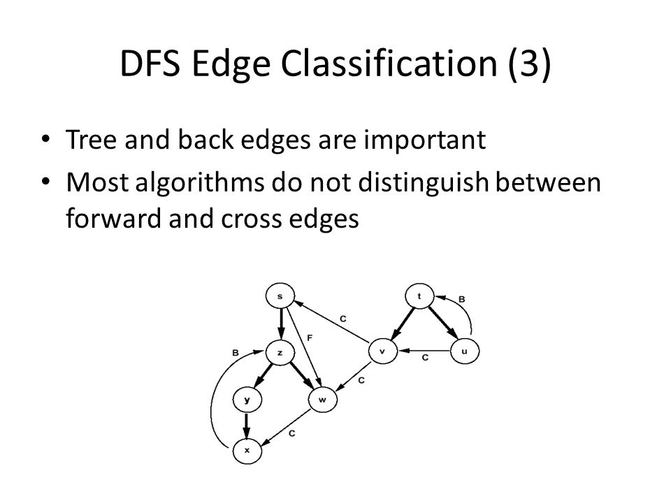 DFS Edge Classification (3) Tree and back edges are important Most algorithms do not distinguish between forward and cross edges