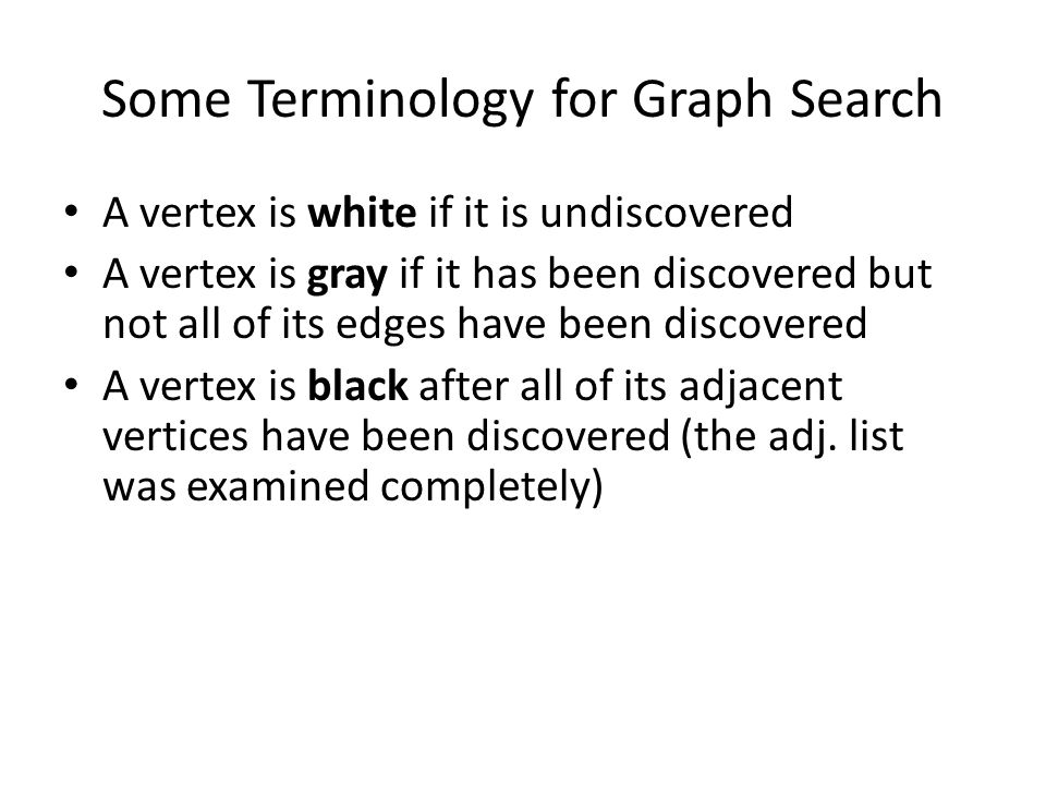 Some Terminology for Graph Search A vertex is white if it is undiscovered A vertex is gray if it has been discovered but not all of its edges have bee