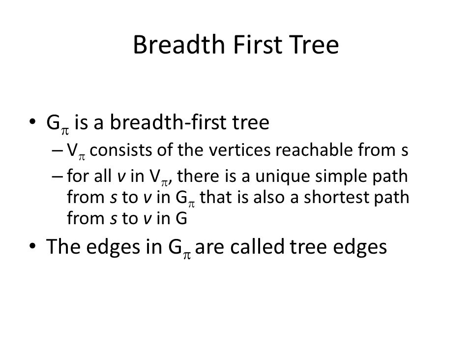 Breadth First Tree G  is a breadth-first tree – V  consists of the vertices reachable from s – for all v in V , there is a unique simple path from