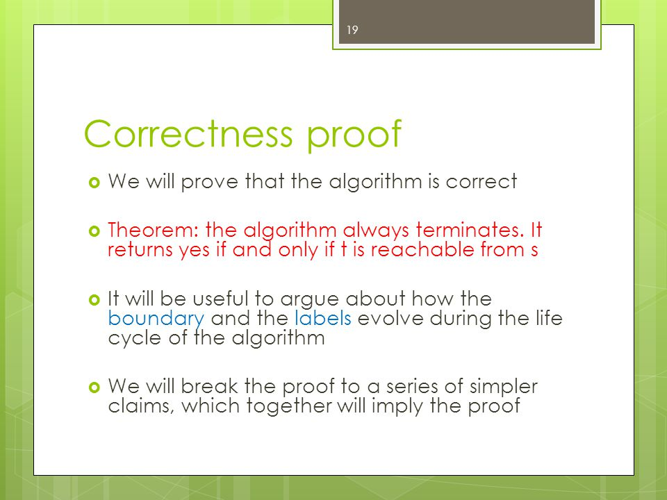 Correctness proof  We will prove that the algorithm is correct  Theorem: the algorithm always terminates.