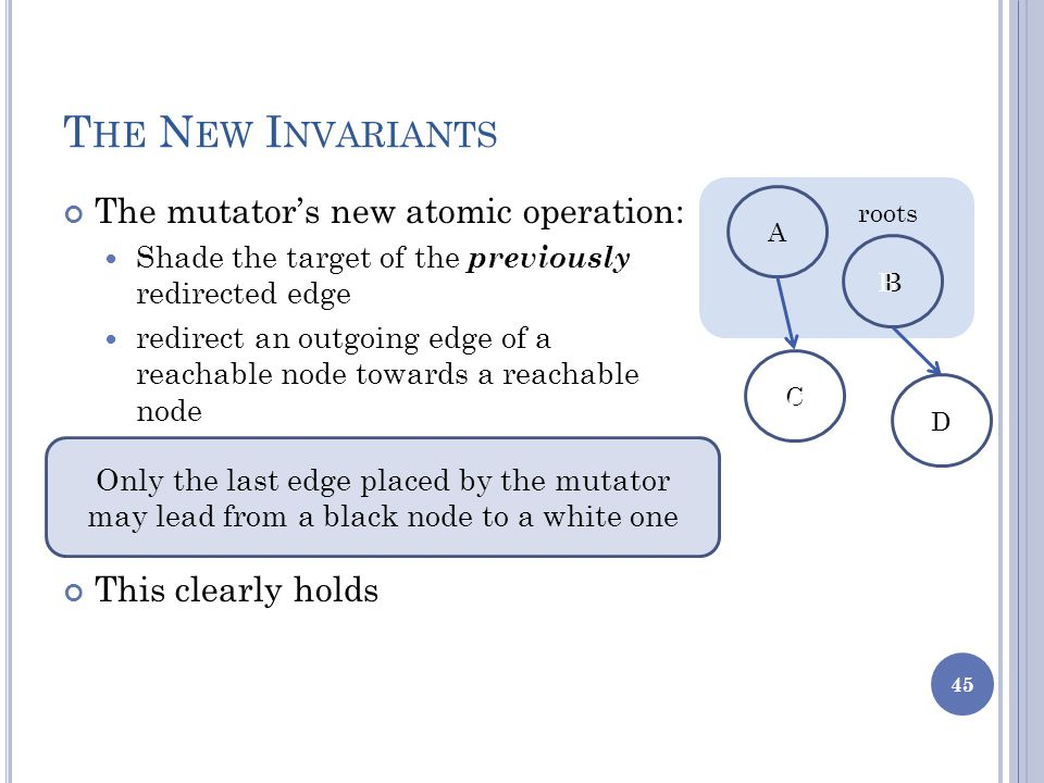 T HE N EW I NVARIANTS The mutator's new atomic operation: Shade the target of the previously redirected edge redirect an outgoing edge of a reachable