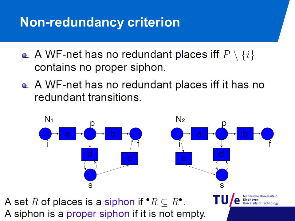Non-redundancy criterion