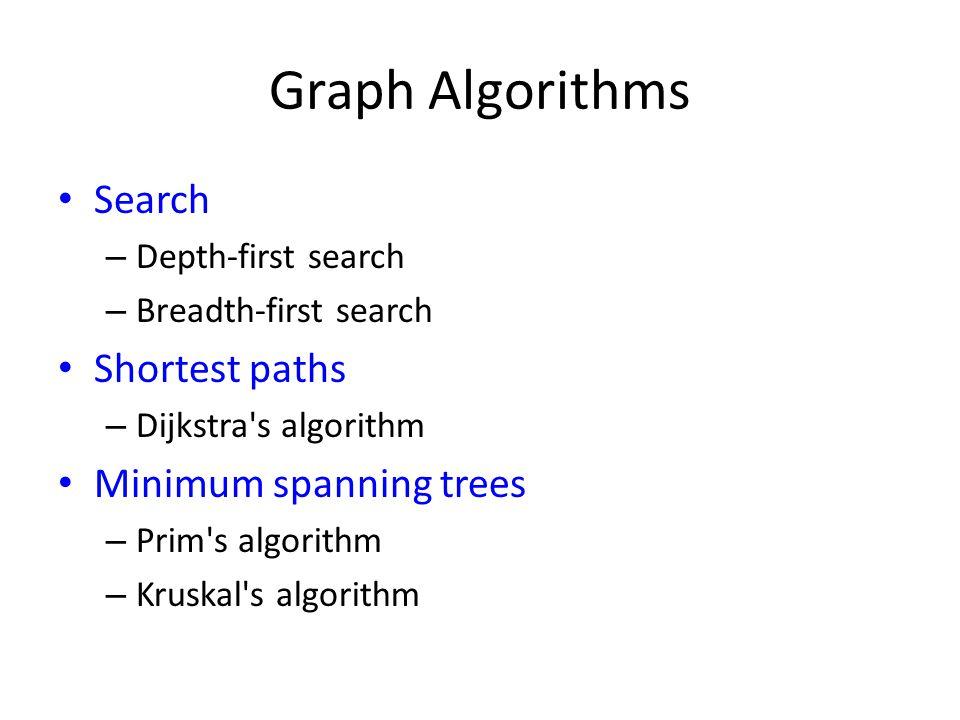 Graph Algorithms Search – Depth-first search – Breadth-first search Shortest paths – Dijkstra's algorithm Minimum spanning trees – Prim's algorithm –