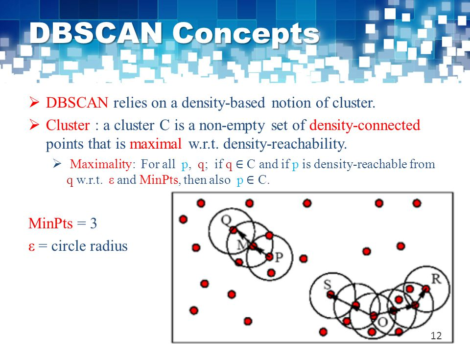 DBSCAN Concepts  DBSCAN relies on a density-based notion of cluster.  Cluster : a cluster C is a non-empty set of density-connected points that is m