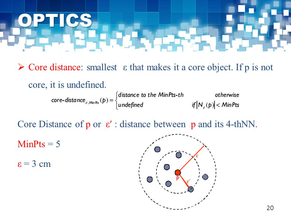 OPTICS  Core distance: smallest ε that makes it a core object. If p is not core, it is undefined. Core Distance of p or ε′ : distance between p and i