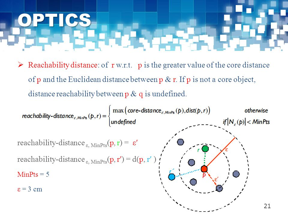 OPTICS  Reachability distance: of r w.r.t. p is the greater value of the core distance of p and the Euclidean distance between p & r. If p is not a c