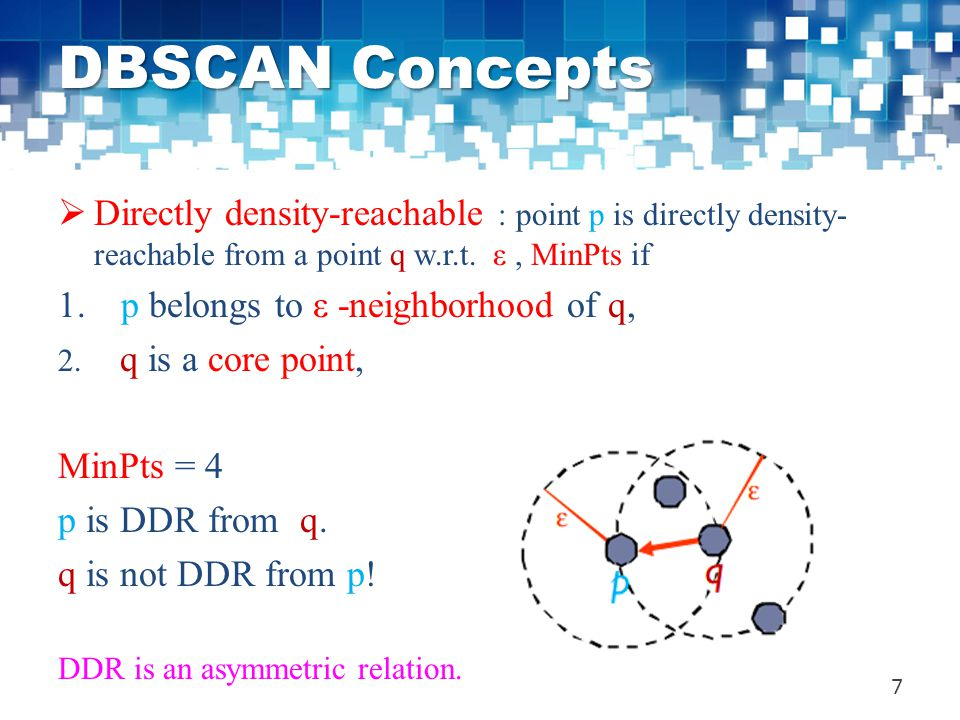 DBSCAN Concepts  Directly density-reachable : point p is directly density- reachable from a point q w.r.t. ε, MinPts if 1. p belongs to ε -neighborho