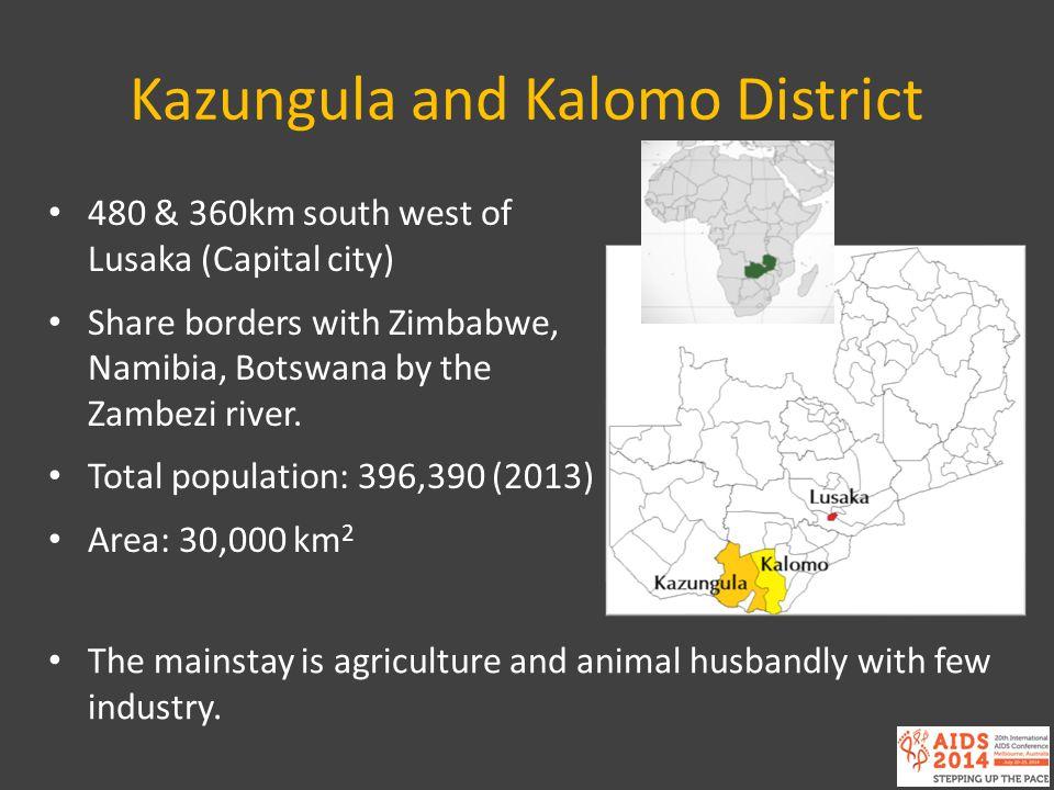 Kazungula and Kalomo District 480 & 360km south west of Lusaka (Capital city) Share borders with Zimbabwe, Namibia, Botswana by the Zambezi river. Tot