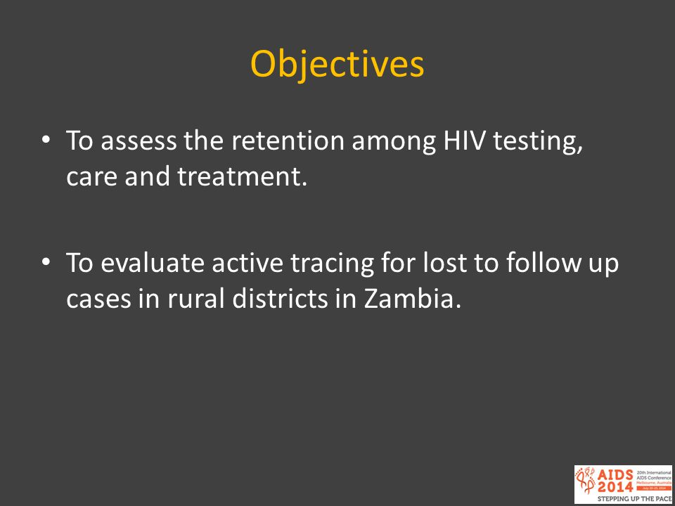 Objectives To assess the retention among HIV testing, care and treatment.