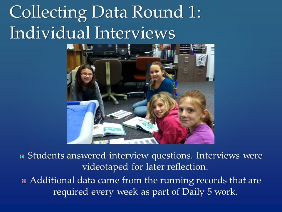 Students answered interview questions. Interviews were videotaped for later reflection. Additional data came from the running records that are require
