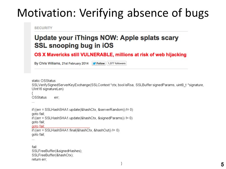 Motivation: Verifying absence of bugs static OSStatus SSLVerifySignedServerKeyExchange(SSLContext *ctx, bool isRsa, SSLBuffer signedParams, uint8_t *signature, UInt16 signatureLen) { OSStatus err;...