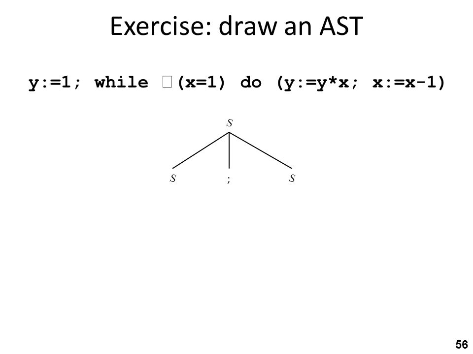 Exercise: draw an AST 56 SS ; S y:=1; while  (x=1) do (y:=y*x; x:=x-1)