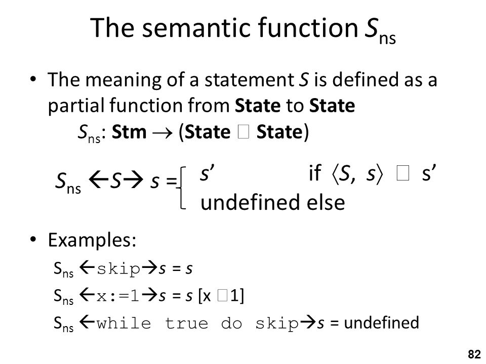 The semantic function S ns The meaning of a statement S is defined as a partial function from State to State S ns : Stm  (State  State) Examples: S ns  skip  s = s S ns  x:=1  s = s [x  1] S ns  while true do skip  s = undefined 82 S ns  S  s = s' if  S, s   s' undefined else