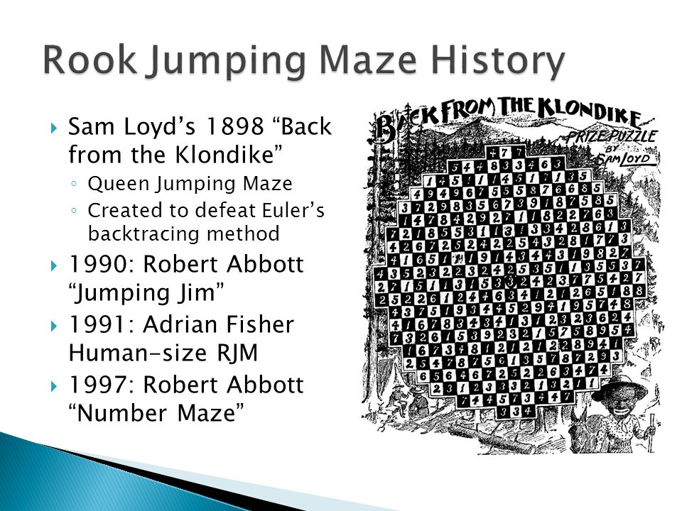 " Sam Loyd's 1898 ""Back from the Klondike"" ◦ Queen Jumping Maze ◦ Created to defeat Euler's backtracing method  1990: Robert Abbott ""Jumping Jim""  1"