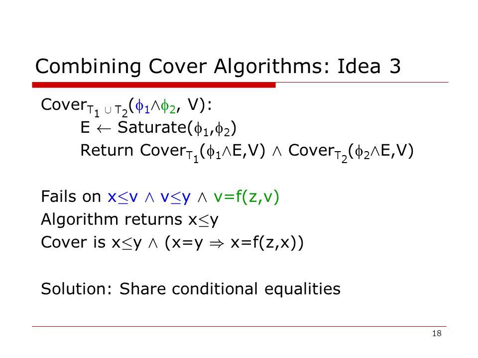 18 Combining Cover Algorithms: Idea 3 Cover T 1 [ T 2 ( 1 Æ  2, V): E Ã Saturate( 1, 2 ) Return Cover T 1 ( 1 Æ E,V) Æ Cover T 2 ( 2 Æ E,V) Fails on x · v Æ v · y Æ v=f(z,v) Algorithm returns x · y Cover is x · y Æ (x=y ) x=f(z,x)) Solution: Share conditional equalities