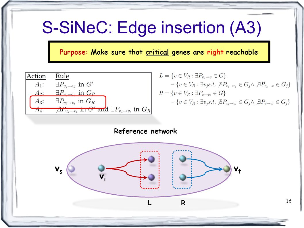 S-SiNeC: Edge insertion (A3) 16 Reference network vsvs vtvt vivi L R Purpose: Make sure that critical genes are right reachable