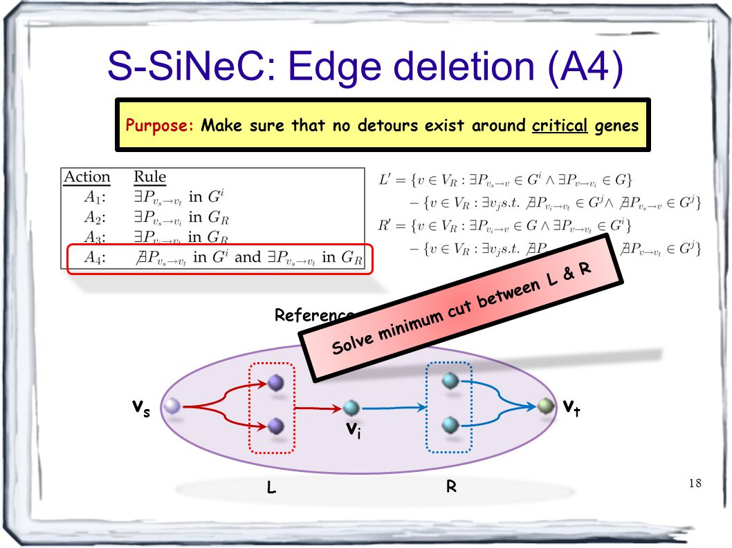 S-SiNeC: Edge deletion (A4) 18 Reference network vsvs vtvt vivi L R Purpose: Make sure that no detours exist around critical genes Solve minimum cut between L & R