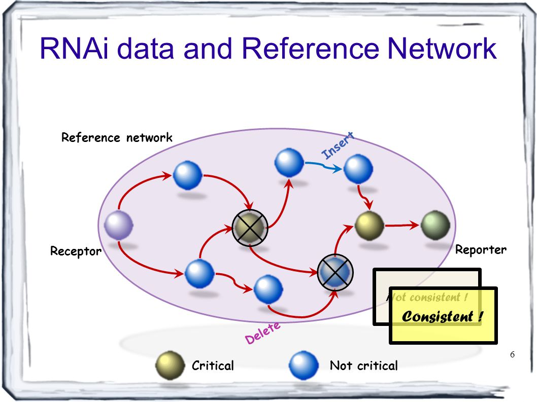 RNAi data and Reference Network 6 Receptor Reporter Not critical Critical Reference network Insert Delete Not consistent .