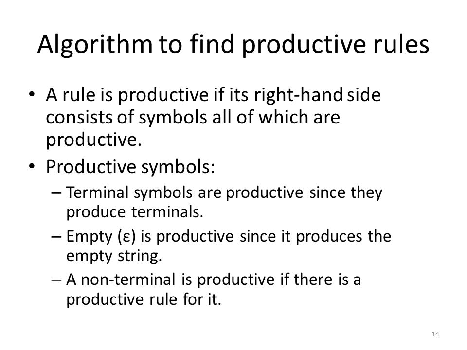 Algorithm to find productive rules A rule is productive if its right-hand side consists of symbols all of which are productive.
