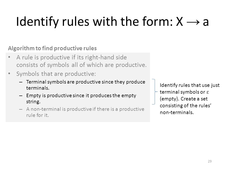 Identify rules with the form: X → a A rule is productive if its right-hand side consists of symbols all of which are productive.
