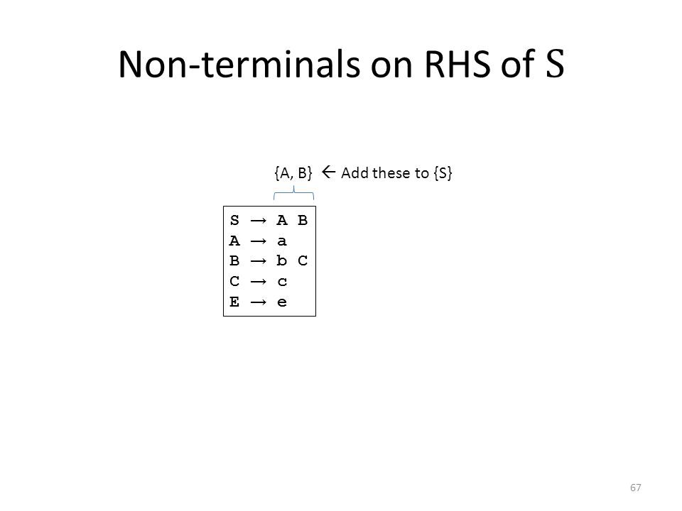Non-terminals on RHS of S S → A B A → a B → b C C → c E → e {A, B}  Add these to {S} 67