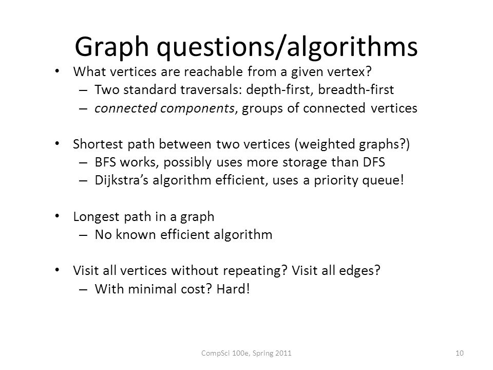 Graph questions/algorithms What vertices are reachable from a given vertex.