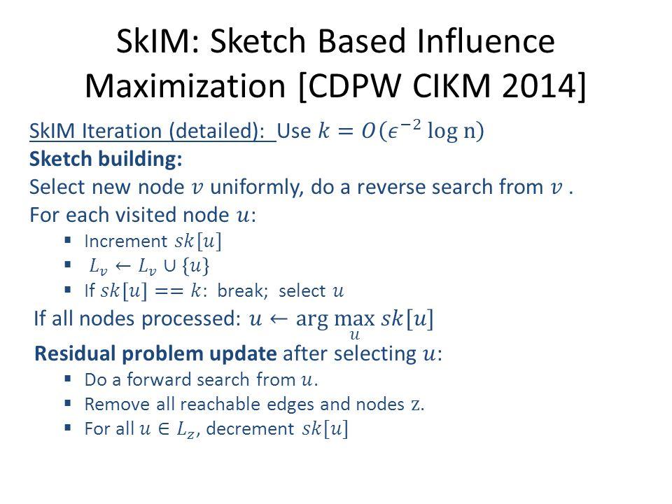 SkIM: Sketch Based Influence Maximization [CDPW CIKM 2014]