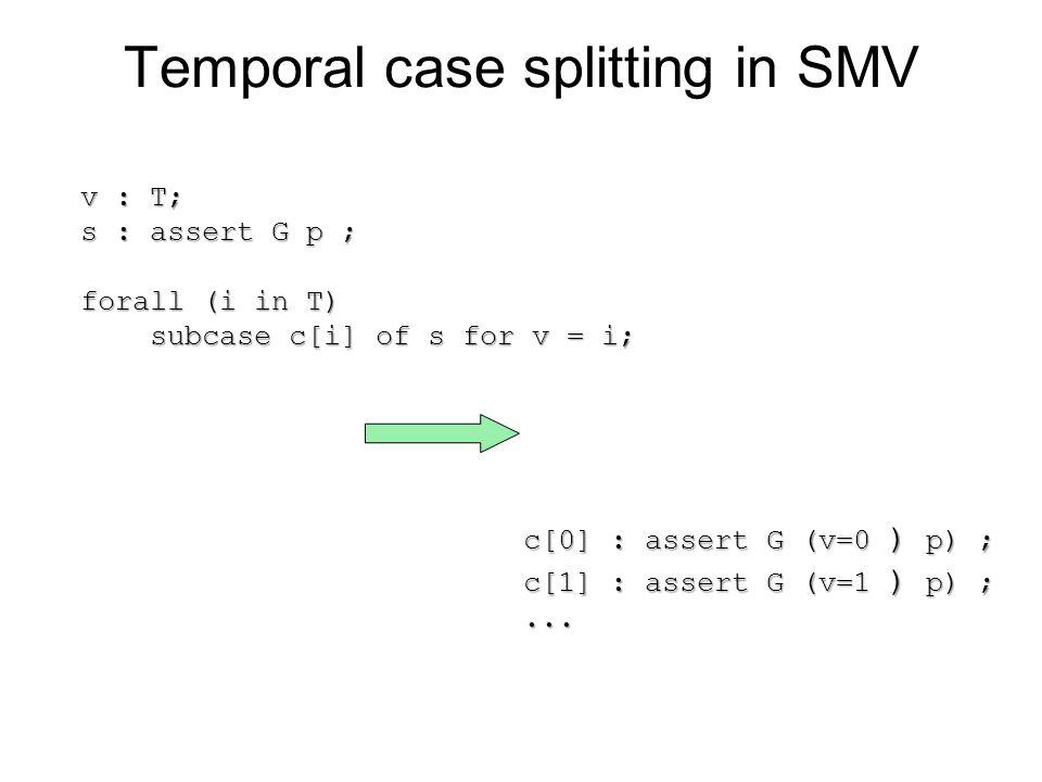 Temporal case splitting in SMV v : T; s : assert G p ; forall (i in T) subcase c[i] of s for v = i; subcase c[i] of s for v = i; c[0] : assert G (v=0 ) p) ; c[1] : assert G (v=1 ) p) ;...