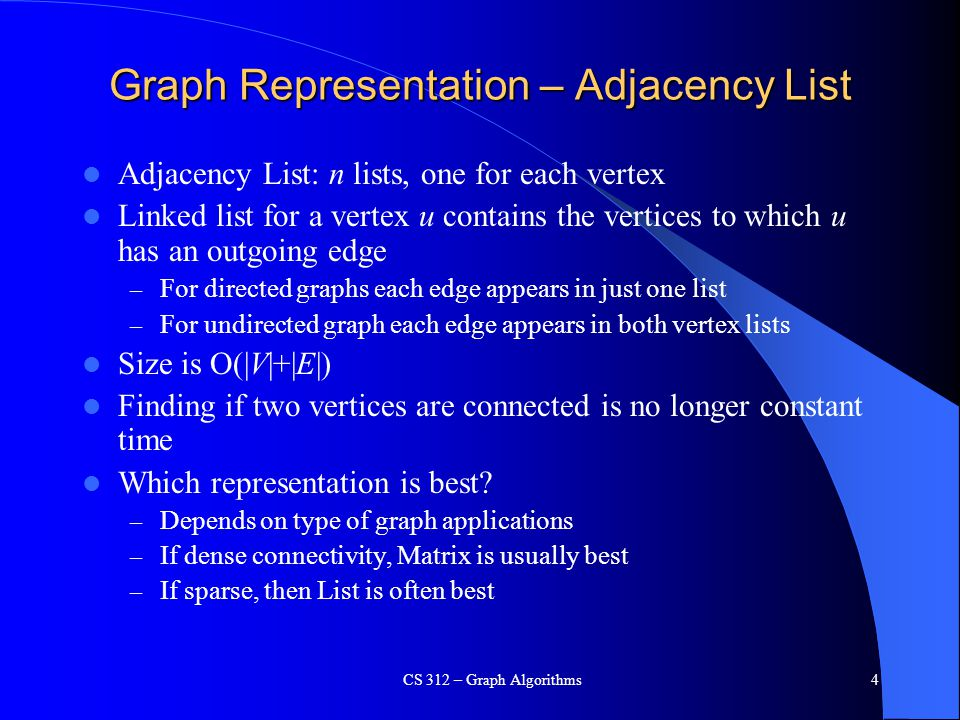 Graph Representation – Adjacency List Adjacency List: n lists, one for each vertex Linked list for a vertex u contains the vertices to which u has an outgoing edge – For directed graphs each edge appears in just one list – For undirected graph each edge appears in both vertex lists Size is O(|V|+|E|) Finding if two vertices are connected is no longer constant time Which representation is best.