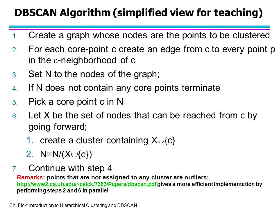 Ch. Eick: Introduction to Hierarchical Clustering and DBSCAN DBSCAN Algorithm (simplified view for teaching) 1. Create a graph whose nodes are the poi