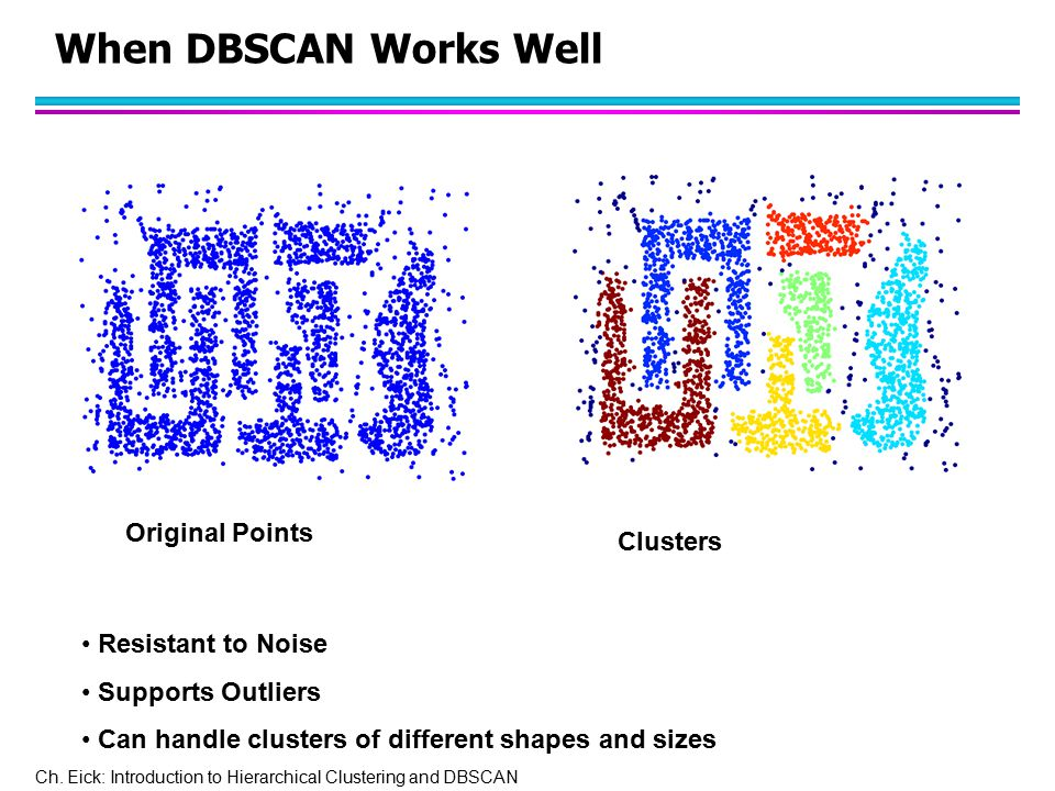 Ch. Eick: Introduction to Hierarchical Clustering and DBSCAN When DBSCAN Works Well Original Points Clusters Resistant to Noise Supports Outliers Can