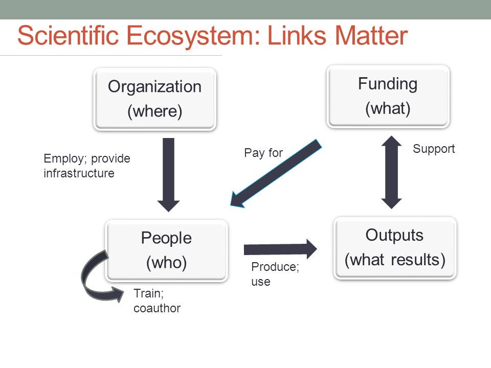 Funding (what) Outputs (what results) People (who) Organization (where) Support Pay for Train; coauthor Produce; use Employ; provide infrastructure Scientific Ecosystem: Links Matter