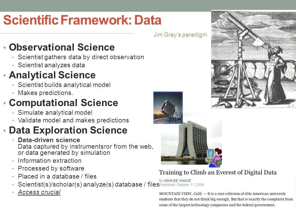 Scientific Framework: Data Observational Science Scientist gathers data by direct observation Scientist analyzes data Analytical Science Scientist builds analytical model Makes predictions.