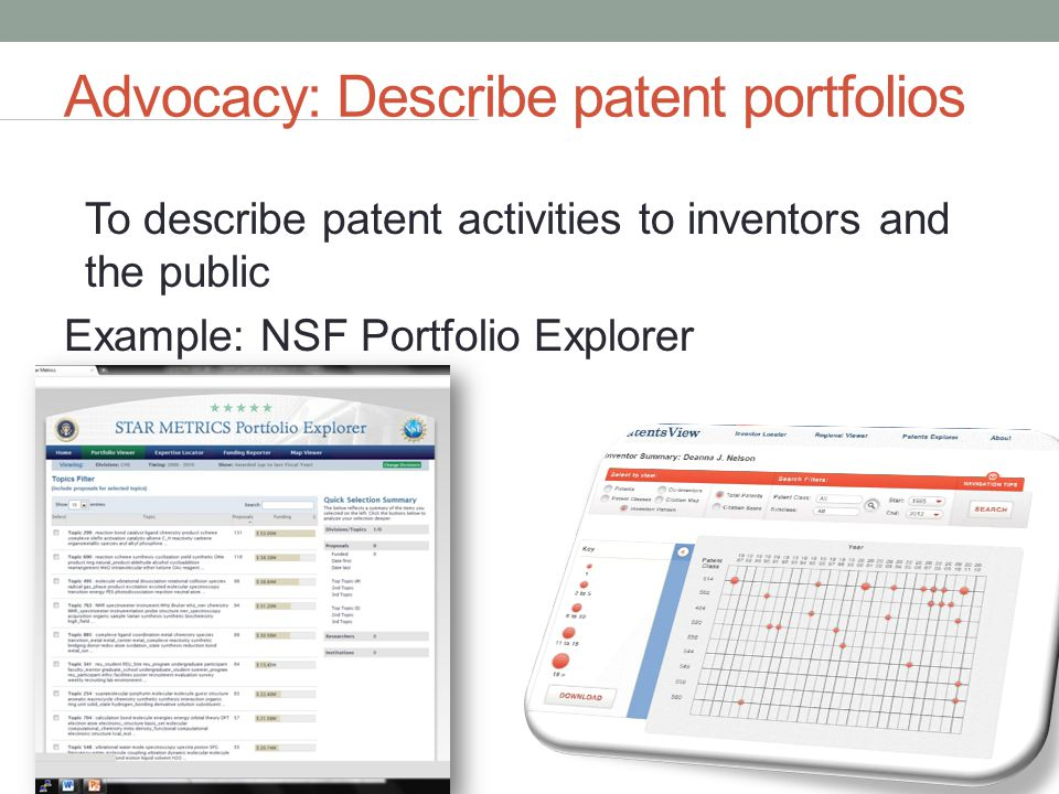 Advocacy: Describe patent portfolios To describe patent activities to inventors and the public Example: NSF Portfolio Explorer