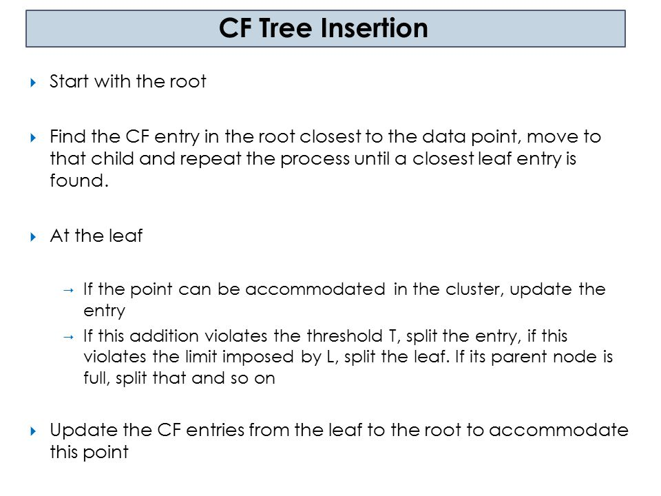 Phase 1: Load into memory by building a CF tree Phase 2 (optional): Condense tree into desirable range by building a smaller CF tree Initial CF tree Data Phase 3: Global Clustering Smaller CF tree Good Clusters Phase 4: (optional and offline): Cluster Refining Better Clusters Birch Algorithm