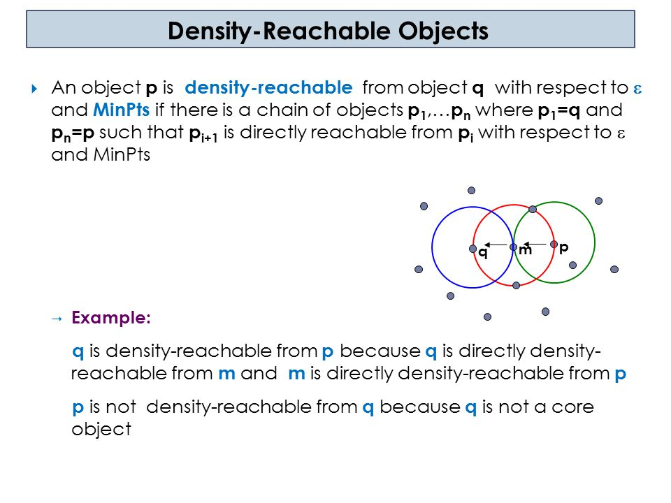 Density-Connectivity  An object p is density-connected to object q with respect to  and MinPts if there is an object O such as both p and q are density reachable from O with respect to  and MinPts  Example: p,q and m are all density connected p m q