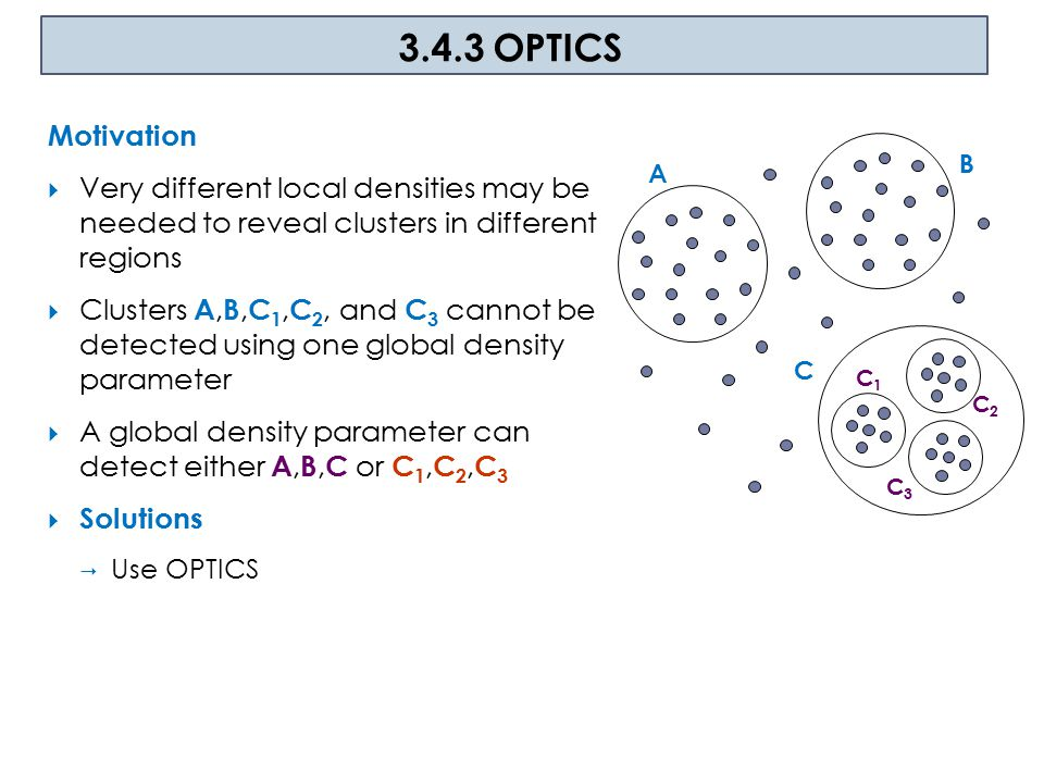 OPTICS Principle  Produce a special order of the database  with respect to its density-based clustering structure  contain information about every clustering level of the data set (up to a generating distance  )  Which information to use.