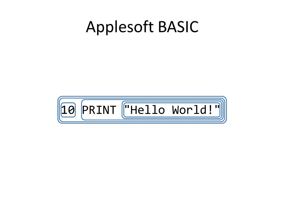 Applesoft BASIC 10 PRINT Hello World!
