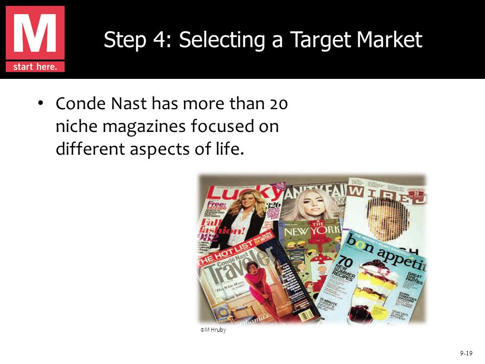9-19 Step 4: Selecting a Target Market Conde Nast has more than 20 niche magazines focused on different aspects of life. ©M Hruby